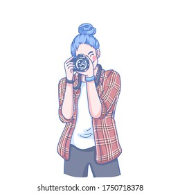 Photographer woman design of vector. Girl take a photo. Doodle illustration style.