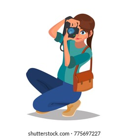 Photographer Woman Vector. Photo Equipment. Camera. Studio Photography. Isolated Flat Cartoon Character Illustration