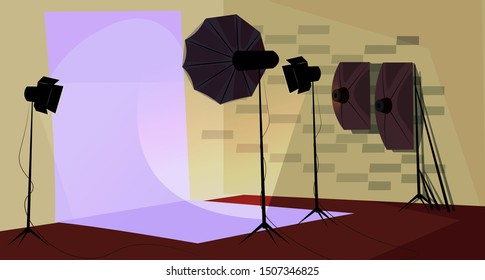 Photographer workplace flat vector illustration. Professional photo studio interior. Empty shooting scene. Workshop with no people inside. Photographic equipment, spotlights, softbox and backdrop