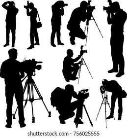 Photographers and cameramen silhouettes collection vector
