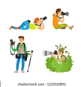 Photographers with cameras and photo equipment. Modern devices for taking picture, photojournalists or reporters, tripod in bush vector illustrations.