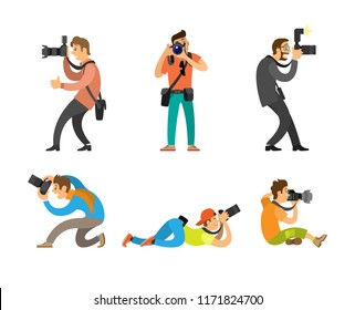 Photographers or paparazzi taking photo with modern digital cameras from all angles. Journalists or reporters making pictures vector illustrations.