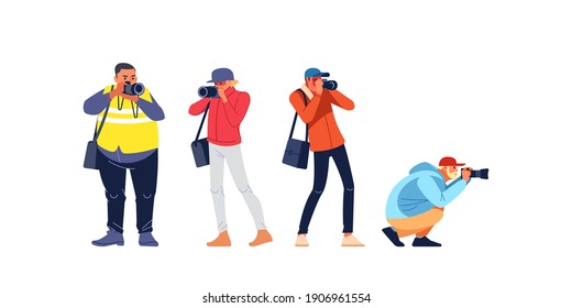 Photographers or paparazzi taking photo. Photojournalist, cameraman documenting war and conflict, street riots. Characters Journalist reporters making pictures. Cartoon flat style vector illustration.