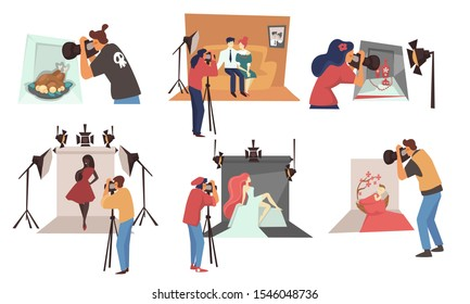 Photographers and photo studio, family photoset and still life picture, isolated icons vector. Models fashion shooting and baby photographs, camera and light. People taking photography on backdrop