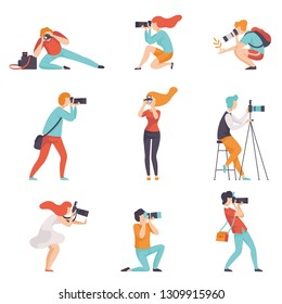 Photographers Taking Photos Using Professional Equipment Set, Men and Women with Cameras Making Pictures Vector Illustration