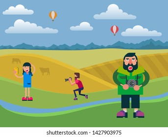 Photographers using camera outdoors. Shooting beautiful sexy woman. Model girl posing on country landscape background with air baloons in skies. Not successfull vector cartoon character paparazzi.