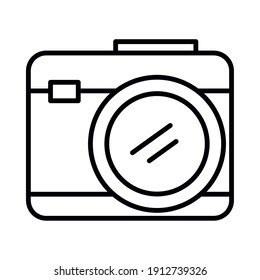 photographic camera icon over white background, line style, vector illustration