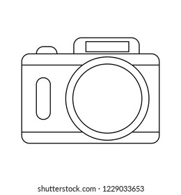 Photographic camera symbol in black and white