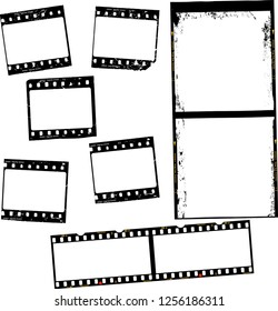 photographic film, film stripes, various formats, negativs, photo frames, free copy space,vector