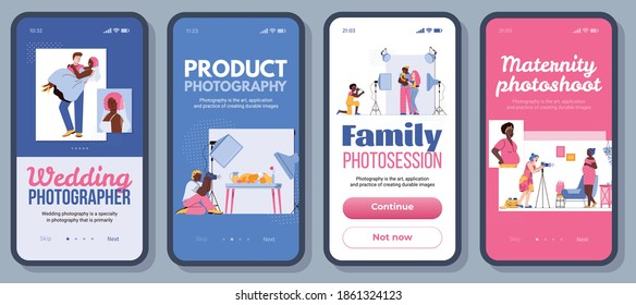 Photography app banner set - cartoon people on photo shoot. Phone screens with photographer and models shooting pictures, vector illustration of mobile applications