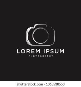 photography camera brush sroke style logo template