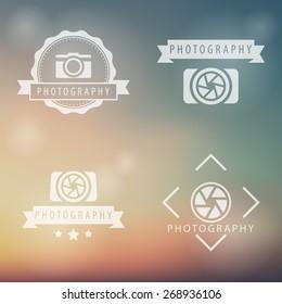 photography, camera, photographer logo, emblems on blur background, vector illustration, eps10, easy to edit