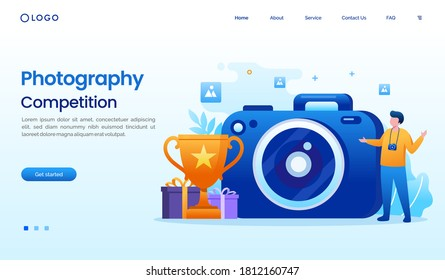 Photography competition illustration flat vector template