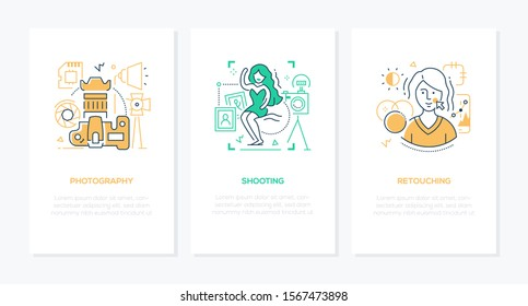 Photography concept - line design style banners set. Thin linear illustrations with icons and place for your text. Photo equipment, shooting in the studio, retouching and editing ideas