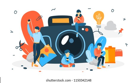 Photography concept. People make selfie. Big camera on the background. Artistic occupation and photography courses. Isolated flat vector illustration
