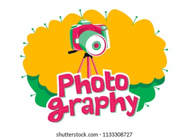 Photography Contest logo, Photography text, pop art, camera and tripod