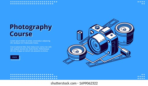 Photography courses isometric landing page. Classes and tutorials for photographers, school or workshop. Photo camera with lenses, film and cards on blue background. 3d vector line art web banner