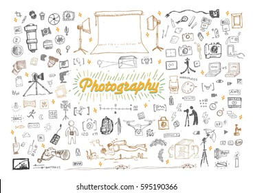 Photography Doodle objects and icons set. Editable Clip Art.