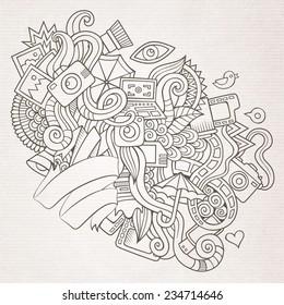 Photography doodles elements sketch background. Vector illustration