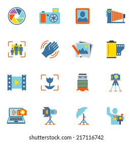 Photography equipment digital camera icons flat isolated vector illustration