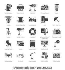 Photography equipment flat glyph icons. Digital camera, lighting, video cameras, accessories, memory card. Vector illustration, signs for photo studio. Solid silhouette pixel perfect 64x64.