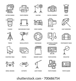 Photography equipment flat line icons. Digital camera, lighting, video accessories, memory card, tripod lens film. Vector illustration, signs for photo studio or store.