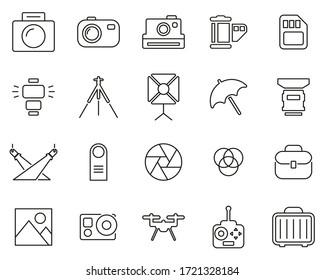 Photography Equipment Icons Black & White Thin Line Set Big