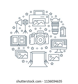 Photography equipment poster with flat line icons. Digital camera, photos, lighting, video cameras, photo accessories memory card, tripod. Vector circle illustration, concept for photostudio brochure.