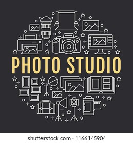 Photography equipment poster with flat line icons. Vector circle illustration, concept for photostudio brochure. Digital camera, photos, lighting video cameras, photo accessories memory card, film.