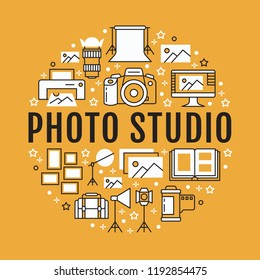 Photography equipment poster with flat line icons. Digital camera, photos, lighting video cameras, photo accessories memory card, tripod. Vector circle illustration, concept photostudio brochure.