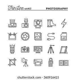 Photography, equipment, post-production, printing and more, thin line icons set, vector illustration