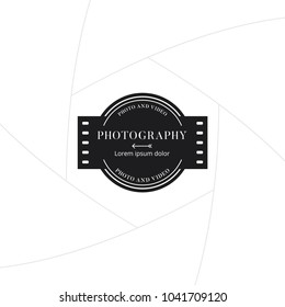 Photography and film badge or label design, Logo for studio and photographer or videographer with roll tape symbol. Photography logo template