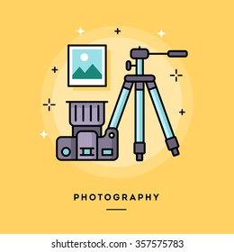 Photography, flat design thin line banner, usage for e-mail newsletter, web banners, headers, blog posts, print and more