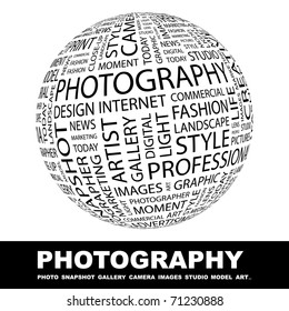 PHOTOGRAPHY. Globe with different association terms. Wordcloud vector illustration.