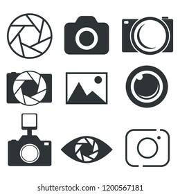 Photography icon. Photo camera icon. Diaphragm icon.  Vector illustration.