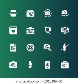 photography icon set. Collection of 16 filled photography icons included Photo camera, Camera, Flash, Camera lens, Shutter, Jpeg, Selfie, Photo album, Flip
