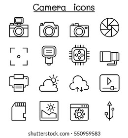 Photography icon set in thin line style