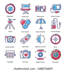 Photography icons pack with various cameras and photographic equipment vectors.