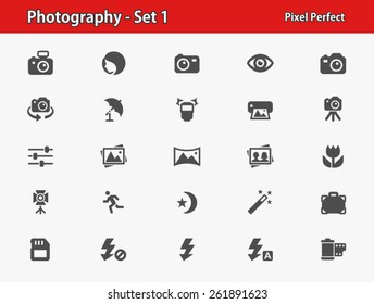 Photography Icons. Professional, pixel perfect icons optimized for both large and small resolutions.