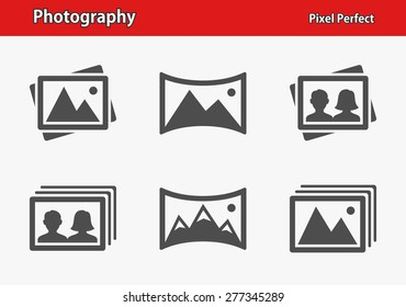 Photography Icons. Professional, pixel perfect icons optimized for both large and small resolutions. EPS 8 format. Designed at 32 x 32 pixels.