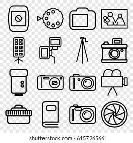 Photography icons set. set of 16 photography outline icons such as camera, camera flash, soft box, photo album