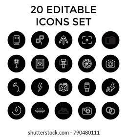 Photography icons. set of 20 editable outline photography icons such as heart with camera, photo, camera, soft box. best quality photography elements in trendy style.