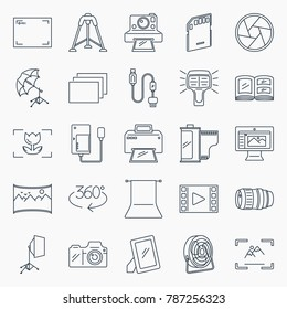 Photography icons set. Collection of photography equipment outline icons