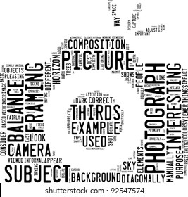 photography info-text (cloud word) composed in the shape of a generic camera on white background