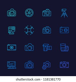 photography line vector icons, mirrorless, action camera, lenses, drone photo, tripod