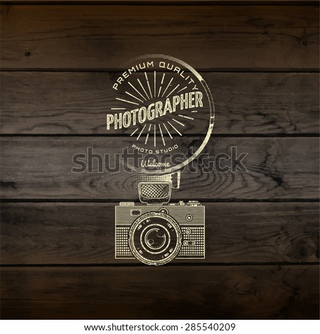 Photography logo badges logos and labels for any use, On wooden background texture