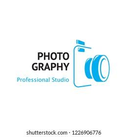 photography logo with camera symbol, camera logo template