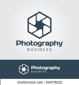 Photography Logo with Hexagon Aperture
