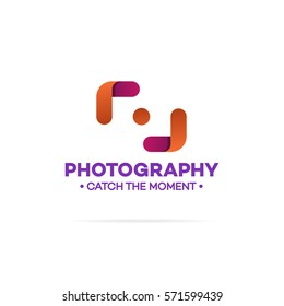 Photography logo orange and red color isolated on white background used for corporate identity photo studio, photoschool, wedding . Vector Illustration