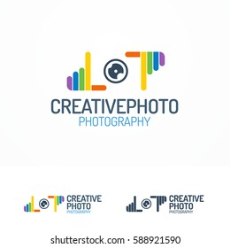 Photography logo set with lens and colorful hands line color style for use photostudio, photoalbum, photoschool, photoeducation, photolaboratory, food photo, wedding and etc. Vector Illustration